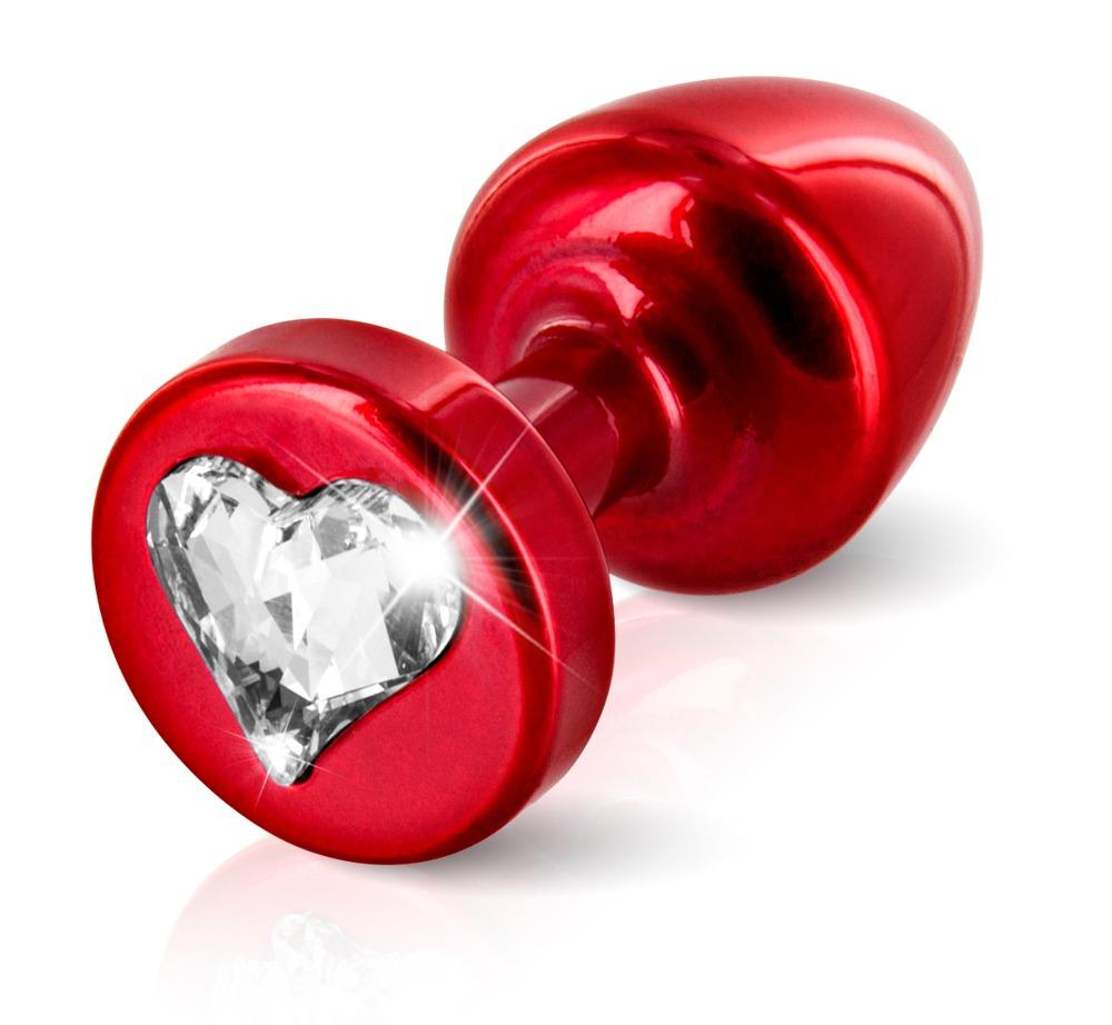 """Image of Analplug """"R Heart red T1´´ aus Aluminium, mit Swarovski-Element"""