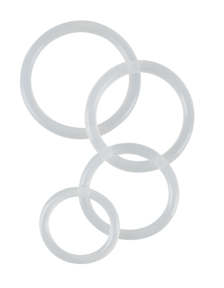 "Image of 4-teiliges Penisringset ""Clear Cock Rings"", 3 - 5 cm Ø"