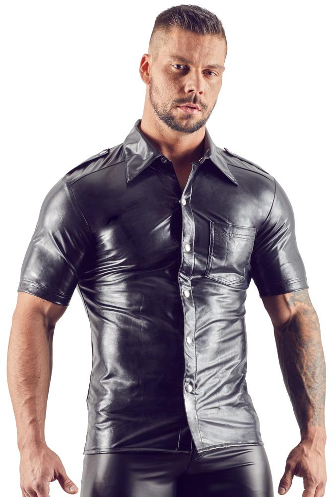 Image of Hemd aus Lederimitat, mit Druckknöpfen und Brusttasche