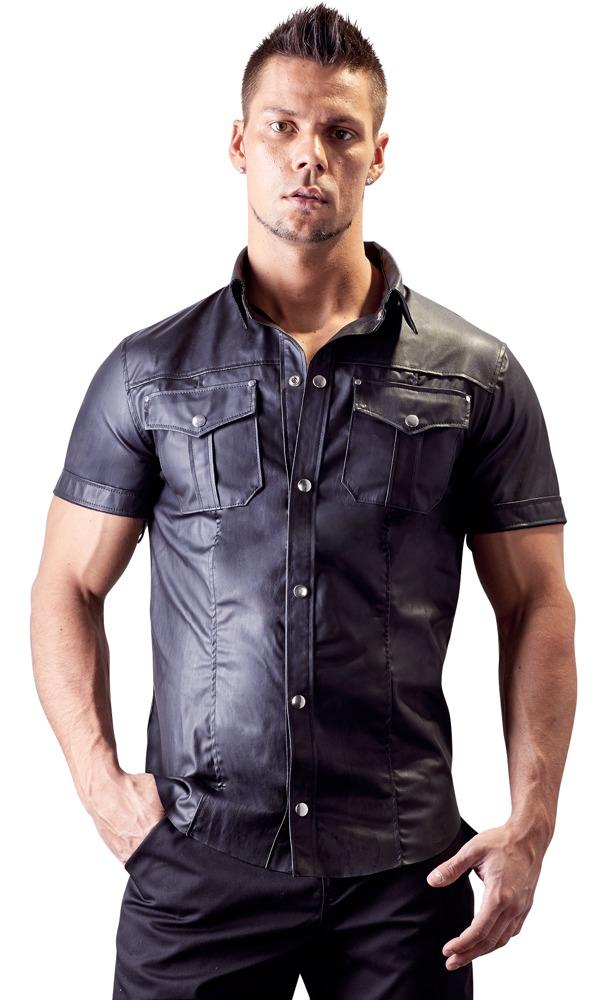 Image of Hemd im Uniform-Style aus Lederimitat