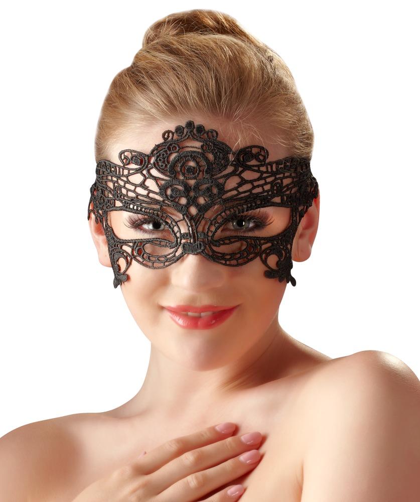 Image of Augenmaske, gestickt, mit schmalem Spitzenband