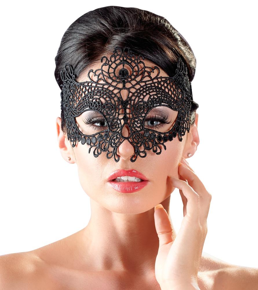 Image of Augenmaske aus filigraner Stickerei, mit Spitzenband zum Binden