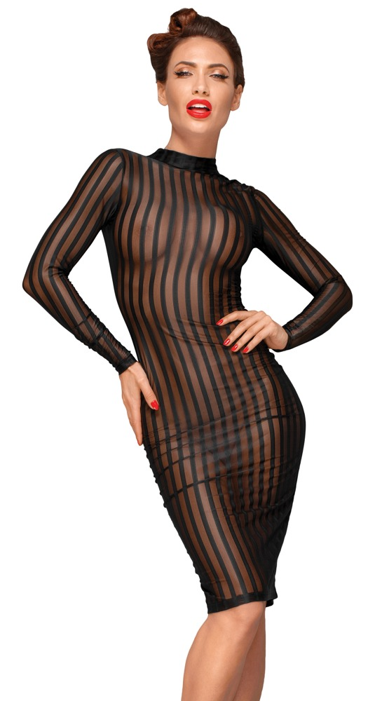 Image of Kleid aus Tüllstoff in semitransparenter Streifen-Optik