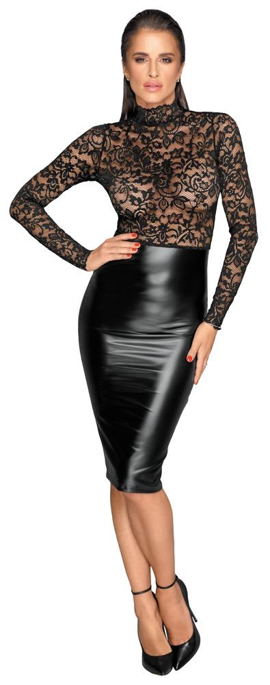 Image of Kleid im edlen Mix aus Spitze und Powerwetlook