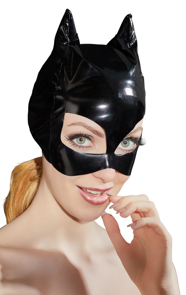 Image of Kopfmaske aus Lack, mit Ohren und Katzenaugen-Öffnungen